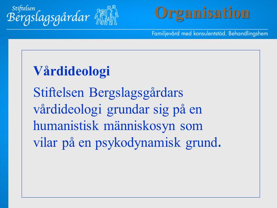Vårdideologi Stiftelsen Bergslagsgårdars vårdideologi grundar sig på en humanistisk människosyn som vilar på en psykodynamisk grund.Organisation