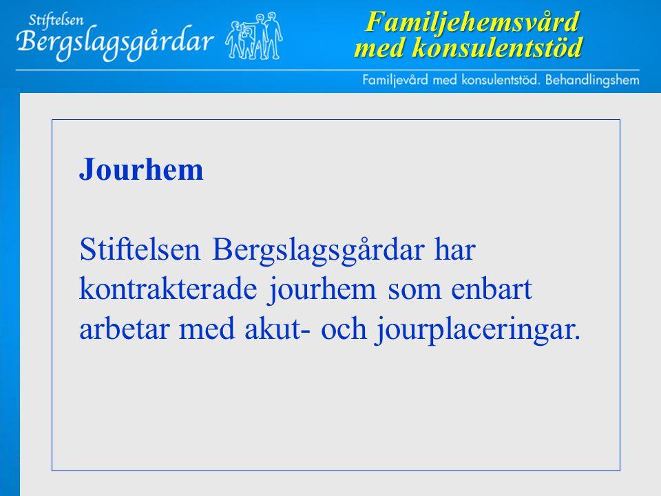 Jourhem Stiftelsen Bergslagsgårdar har kontrakterade jourhem som enbart arbetar med akut- och jourplaceringar.Familjehemsvård med konsulentstöd