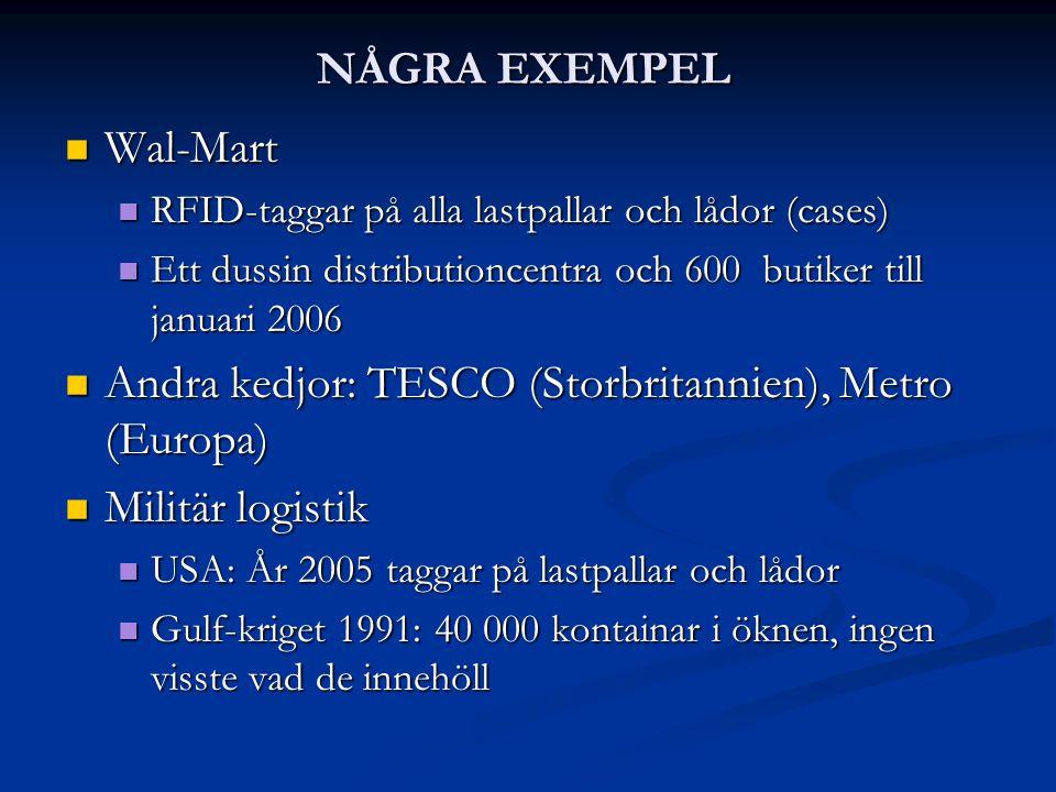NÅGRA EXEMPEL  Wal-Mart  RFID-taggar på alla lastpallar och lådor (cases)  Ett dussin distributioncentra och 600 butiker till januari 2006  Andra