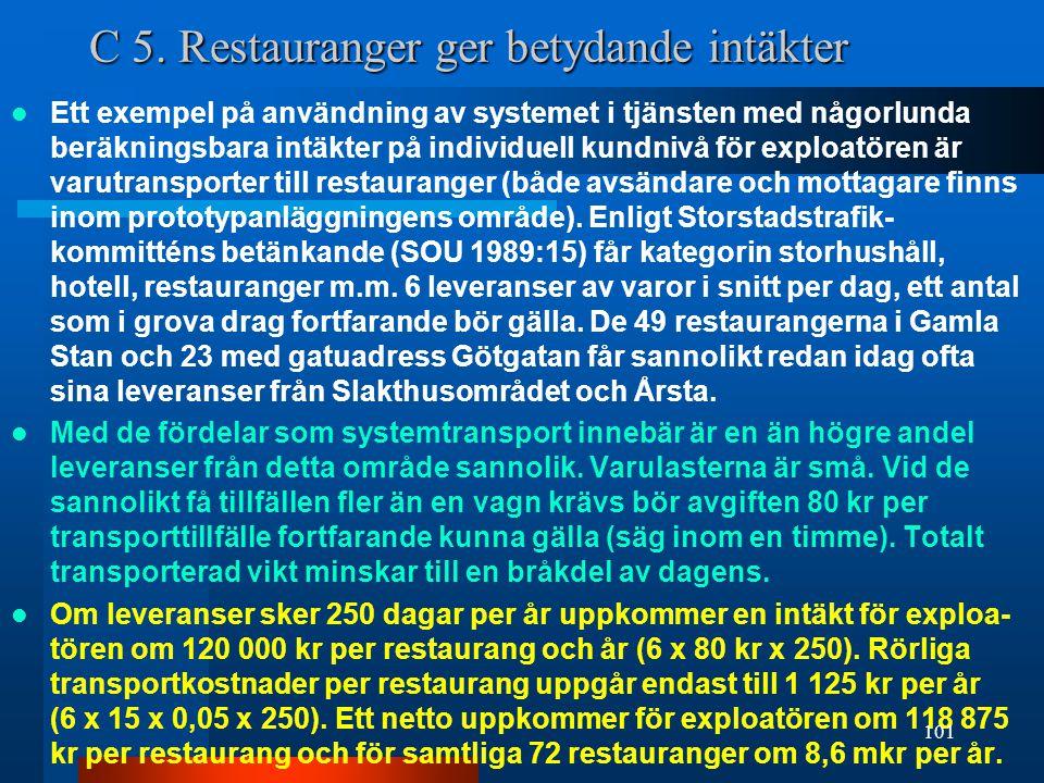 C 5. Restauranger ger betydande intäkter  Ett exempel på användning av systemet i tjänsten med någorlunda beräkningsbara intäkter på individuell kund