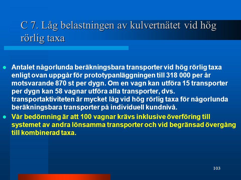 C 7. Låg belastningen av kulvertnätet vid hög rörlig taxa  Antalet någorlunda beräkningsbara transporter vid hög rörlig taxa enligt ovan uppgår för p