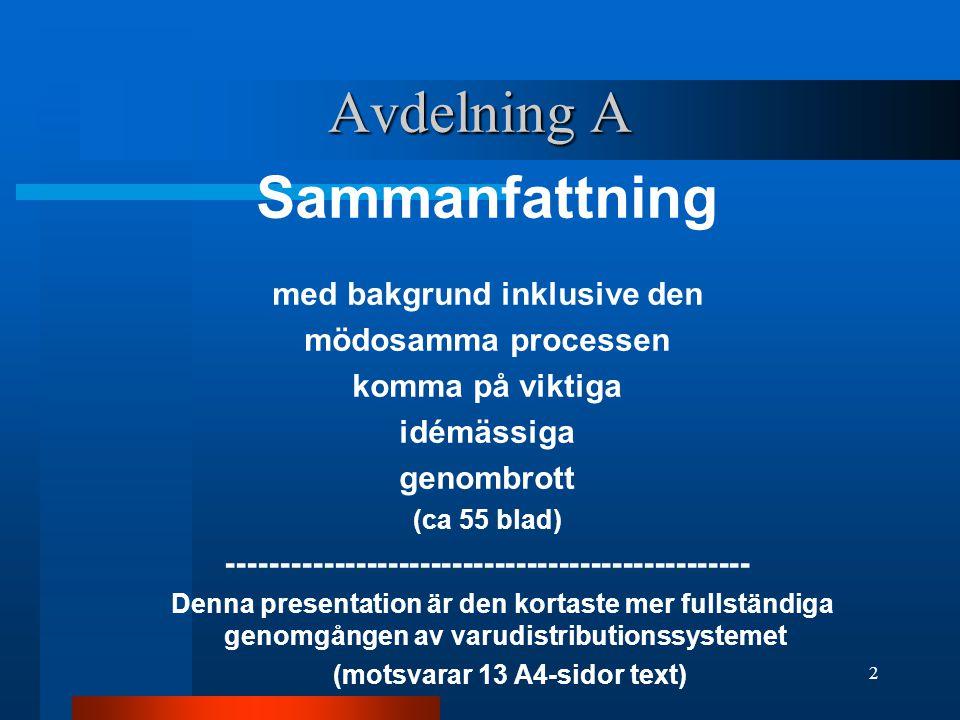 Avdelning A Sammanfattning med bakgrund inklusive den mödosamma processen komma på viktiga idémässiga genombrott (ca 55 blad) ------------------------------------------------- Denna presentation är den kortaste mer fullständiga genomgången av varudistributionssystemet (motsvarar 13 A4-sidor text) 2