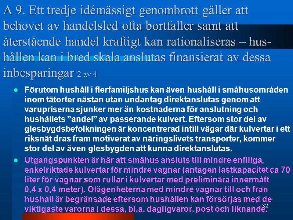A 9. Ett tredje idémässigt genombrott gäller att behovet av handelsled ofta bortfaller samt att återstående handel kraftigt kan rationaliseras – hus-