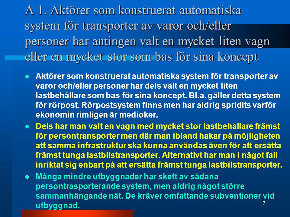 A 1. Aktörer som konstruerat automatiska system för transporter av varor och/eller personer har antingen valt en mycket liten vagn eller en mycket sto