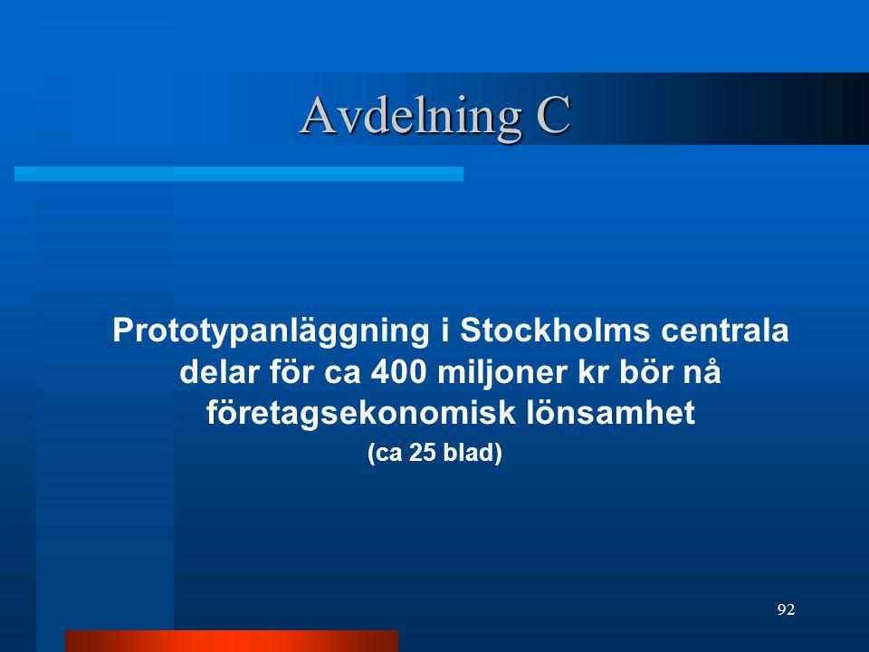Avdelning C Prototypanläggning i Stockholms centrala delar för ca 400 miljoner kr bör nå företagsekonomisk lönsamhet (ca 25 blad) 92