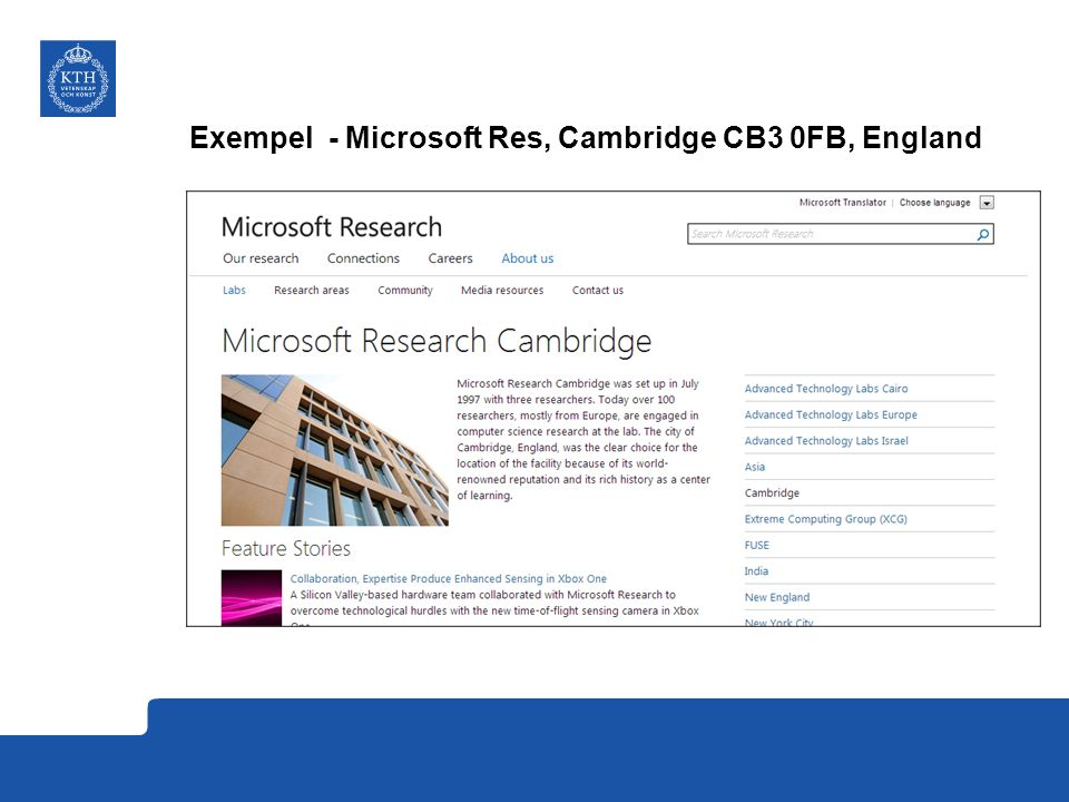 Exempel - Microsoft Res, Cambridge CB3 0FB, England