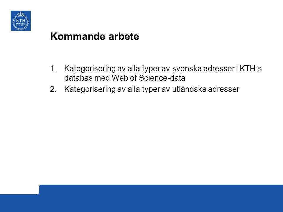 Kommande arbete 1.Kategorisering av alla typer av svenska adresser i KTH:s databas med Web of Science-data 2.Kategorisering av alla typer av utländska adresser