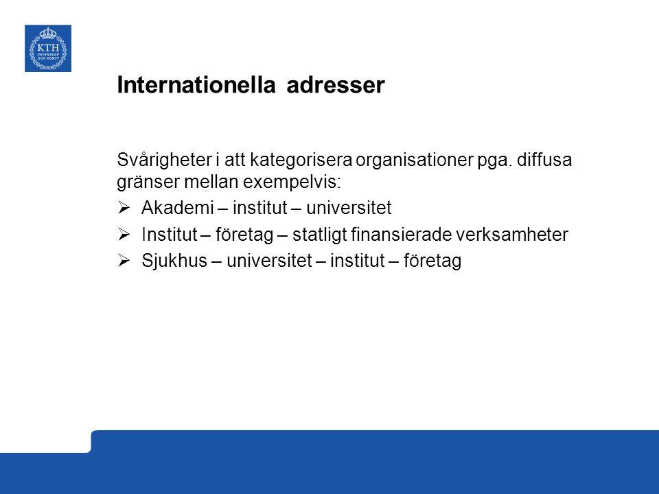 Internationella adresser Svårigheter i att kategorisera organisationer pga.