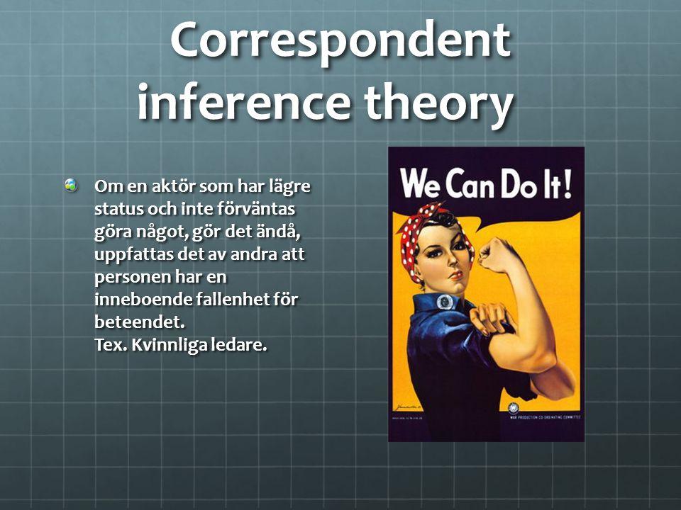 Correspondent inference theory Om en aktör som har lägre status och inte förväntas göra något, gör det ändå, uppfattas det av andra att personen har e