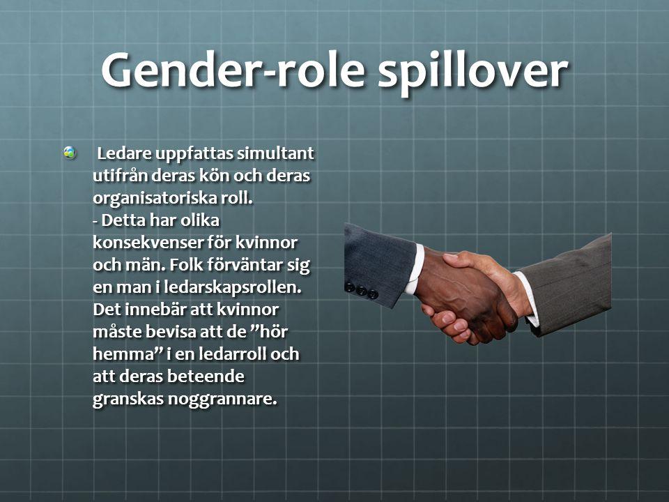 Gender-role spillover Ledare uppfattas simultant utifrån deras kön och deras organisatoriska roll. - Detta har olika konsekvenser för kvinnor och män.
