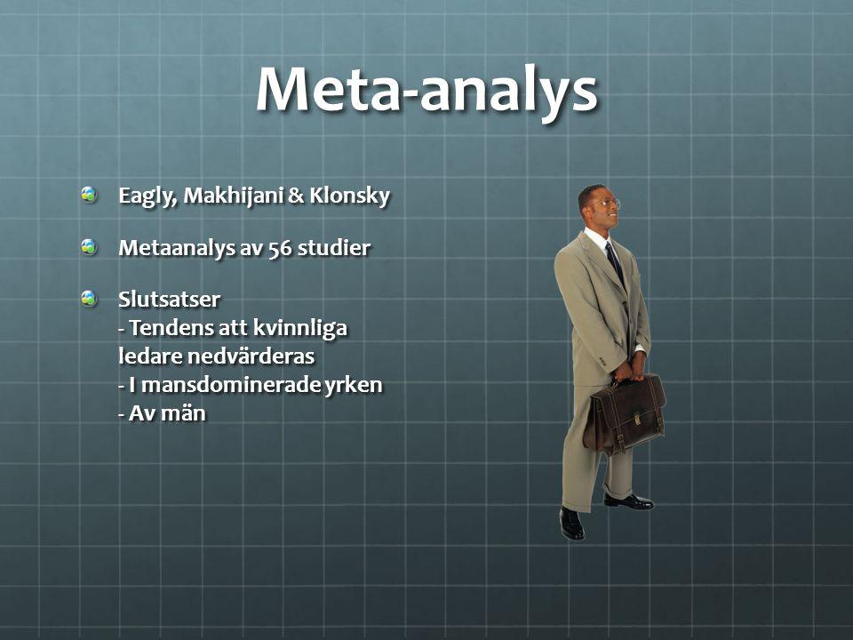 Meta-analys Eagly, Makhijani & Klonsky Metaanalys av 56 studier Slutsatser - Tendens att kvinnliga ledare nedvärderas - I mansdominerade yrken - Av mä