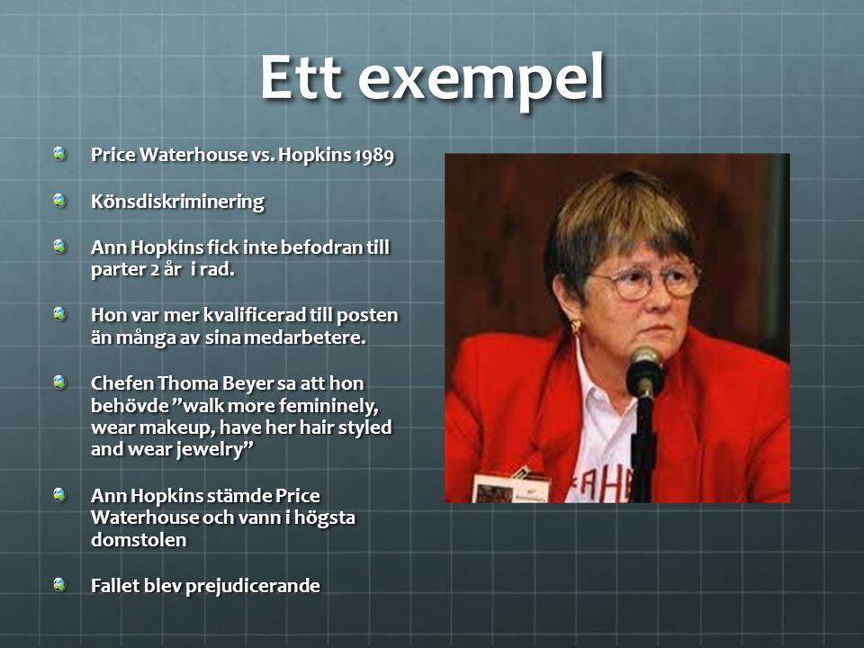 Ett exempel Price Waterhouse vs. Hopkins 1989 Könsdiskriminering Ann Hopkins fick inte befodran till parter 2 år i rad. Hon var mer kvalificerad till