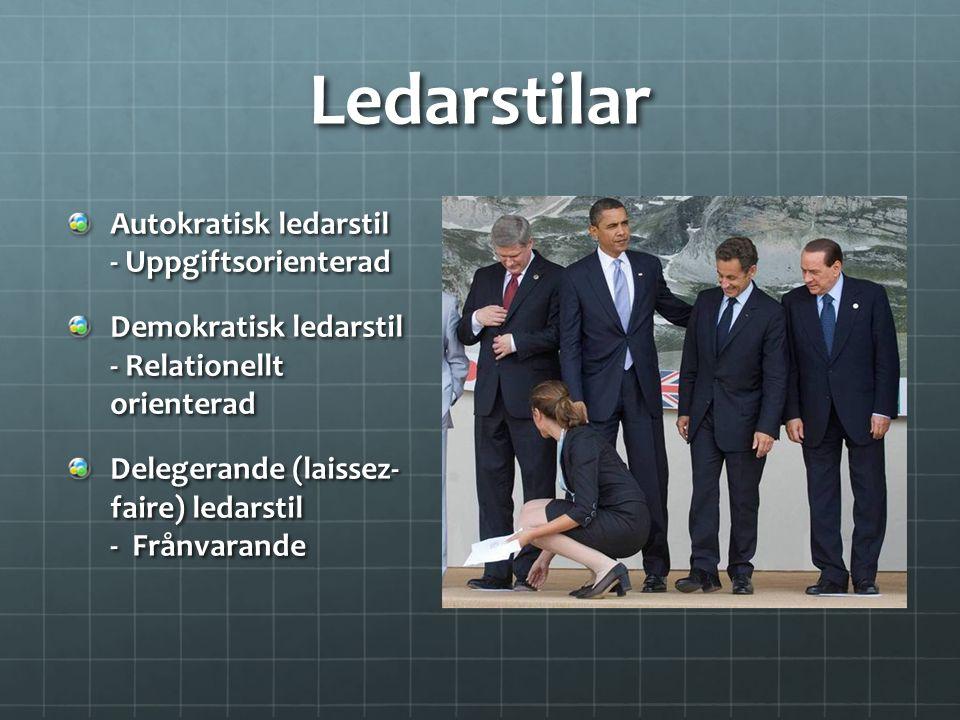 Ledarstilar Autokratisk ledarstil - Uppgiftsorienterad Demokratisk ledarstil - Relationellt orienterad Delegerande (laissez- faire) ledarstil - Frånva