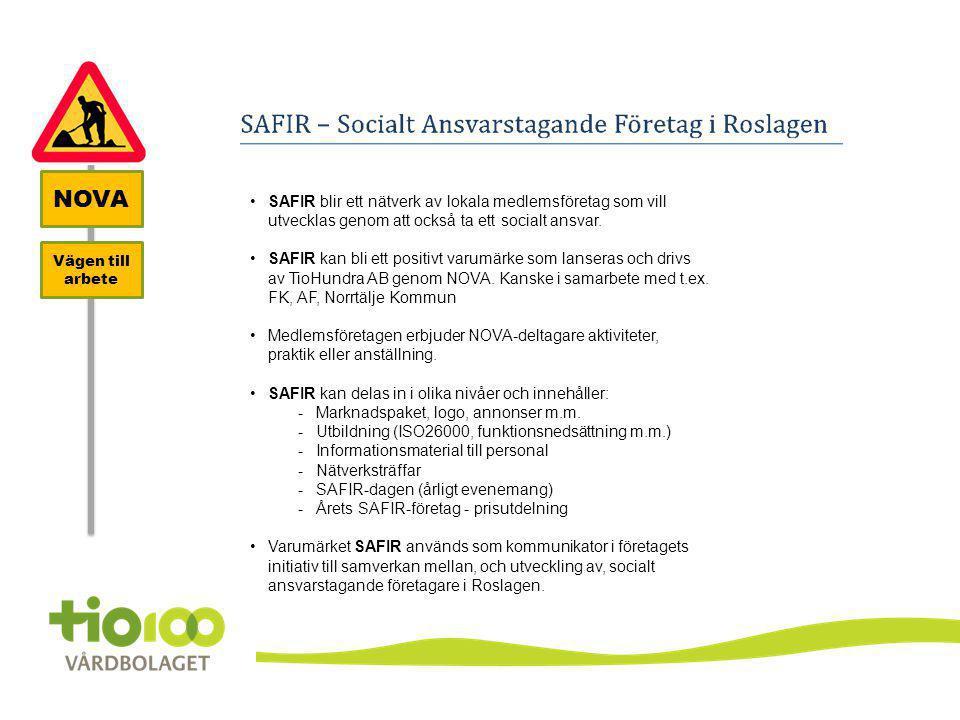 •SAFIR blir ett nätverk av lokala medlemsföretag som vill utvecklas genom att också ta ett socialt ansvar. •SAFIR kan bli ett positivt varumärke som l