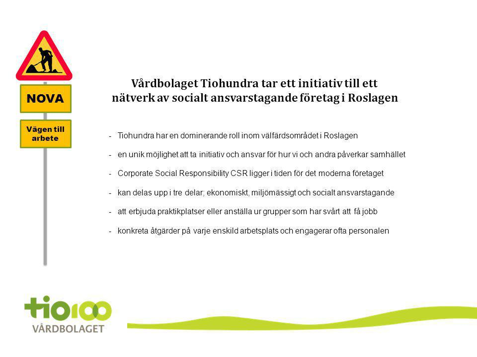 NOVA Vägen till arbete Vårdbolaget Tiohundra tar ett initiativ till ett nätverk av socialt ansvarstagande företag i Roslagen -Tiohundra har en dominer