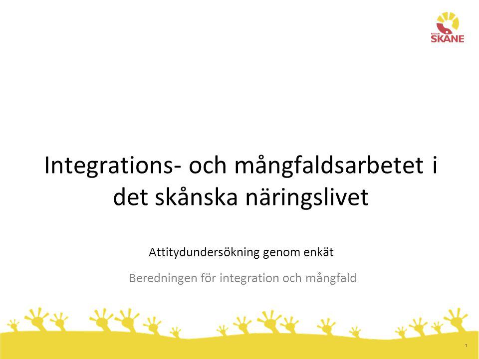 1 Integrations- och mångfaldsarbetet i det skånska näringslivet Attitydundersökning genom enkät Beredningen för integration och mångfald