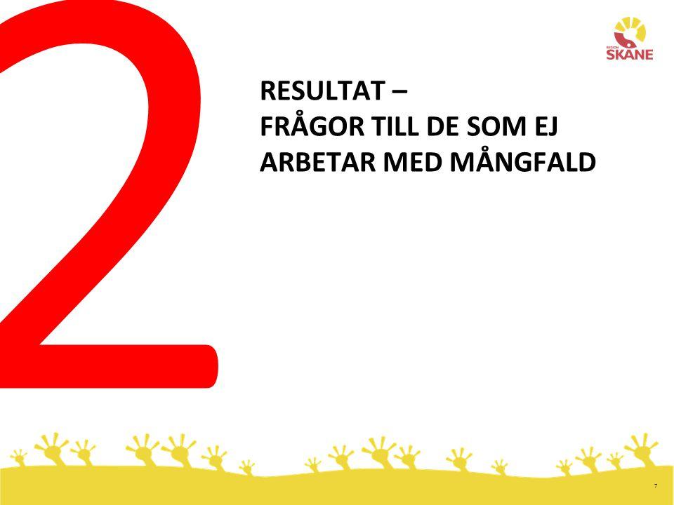 7 RESULTAT – FRÅGOR TILL DE SOM EJ ARBETAR MED MÅNGFALD 2