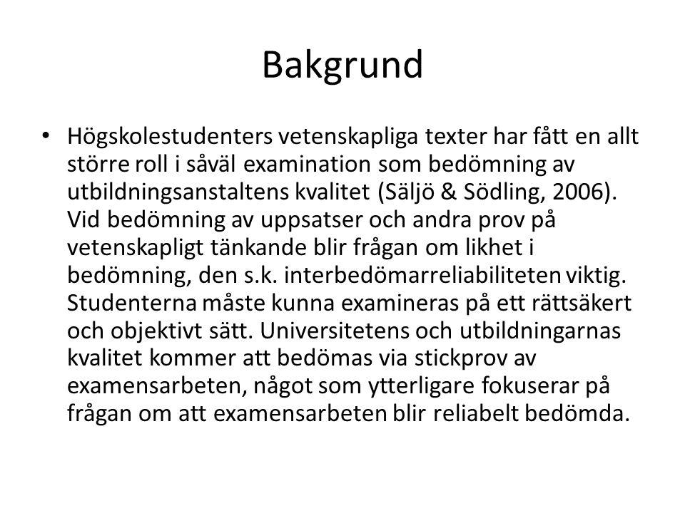 Syfte • Syftet med denna studie är undersöka om olika examinatorer betygssätter examensarbeten på samma sätt.