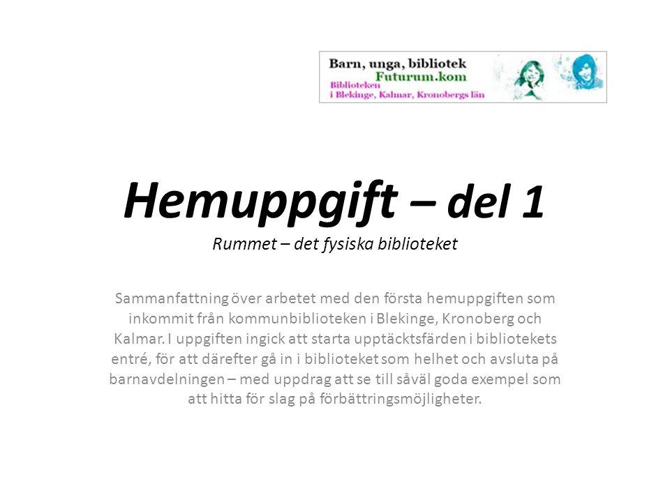 Hemuppgift – del 1 Rummet – det fysiska biblioteket Sammanfattning över arbetet med den första hemuppgiften som inkommit från kommunbiblioteken i Blekinge, Kronoberg och Kalmar.