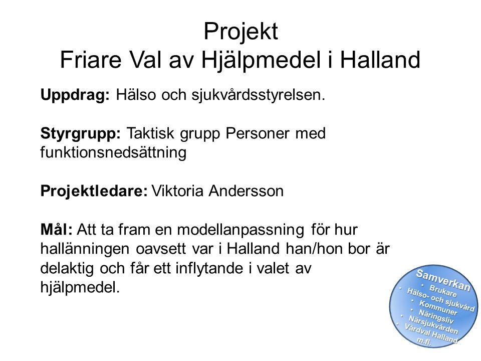 Projekt Friare Val av Hjälpmedel i Halland Uppdrag: Hälso och sjukvårdsstyrelsen. Styrgrupp: Taktisk grupp Personer med funktionsnedsättning Projektle