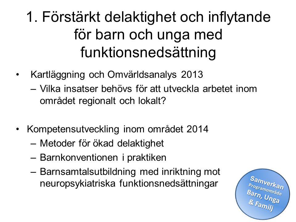 1. Förstärkt delaktighet och inflytande för barn och unga med funktionsnedsättning •Kartläggning och Omvärldsanalys 2013 –Vilka insatser behövs för at