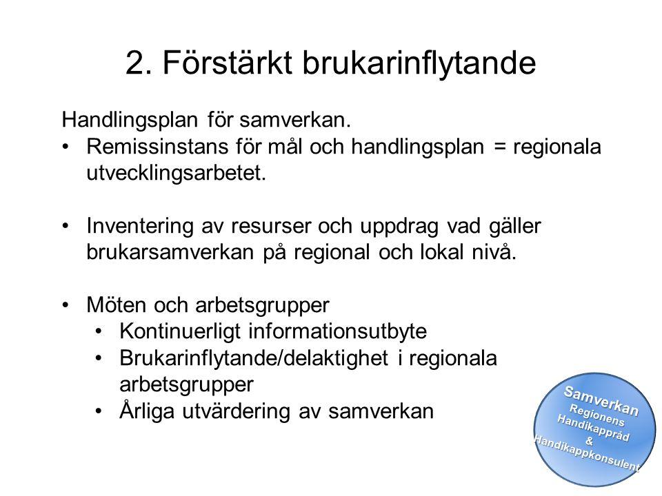 2. Förstärkt brukarinflytande SamverkanRegionensHandikappråd&Handikappkonsulent Handlingsplan för samverkan. •Remissinstans för mål och handlingsplan