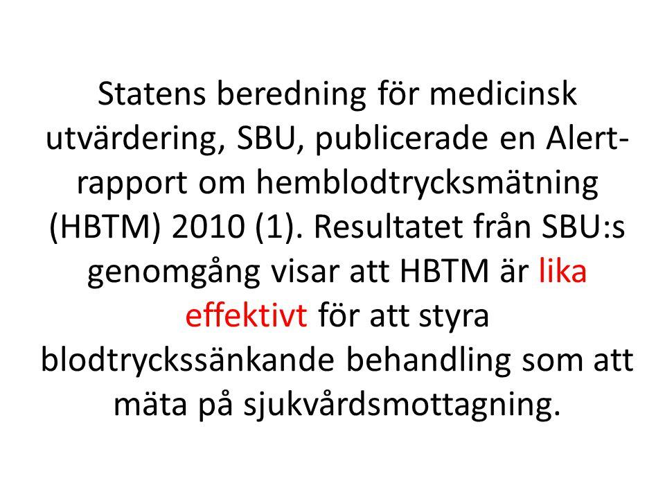 Statens beredning för medicinsk utvärdering, SBU, publicerade en Alert- rapport om hemblodtrycksmätning (HBTM) 2010 (1).