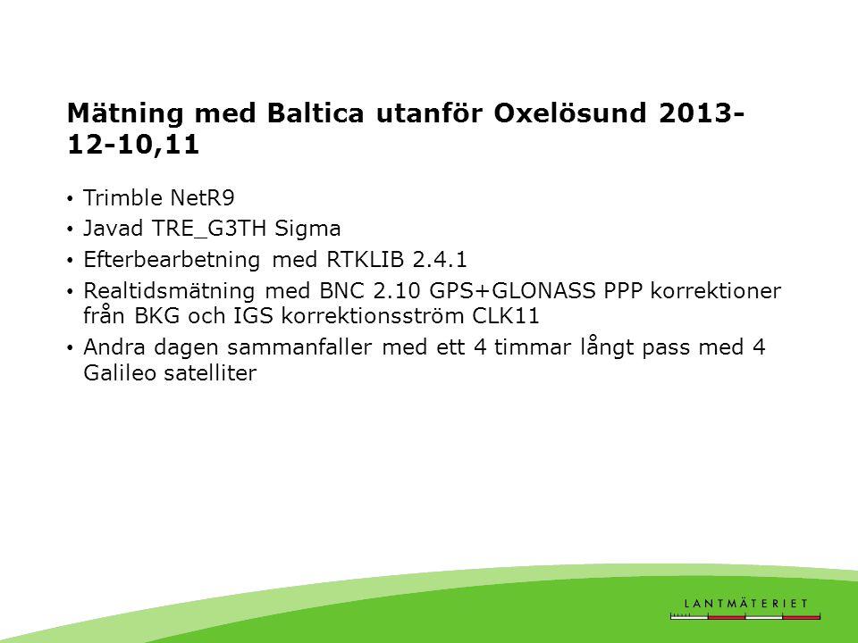 Mätning med Baltica utanför Oxelösund 2013- 12-10,11 • Trimble NetR9 • Javad TRE_G3TH Sigma • Efterbearbetning med RTKLIB 2.4.1 • Realtidsmätning med