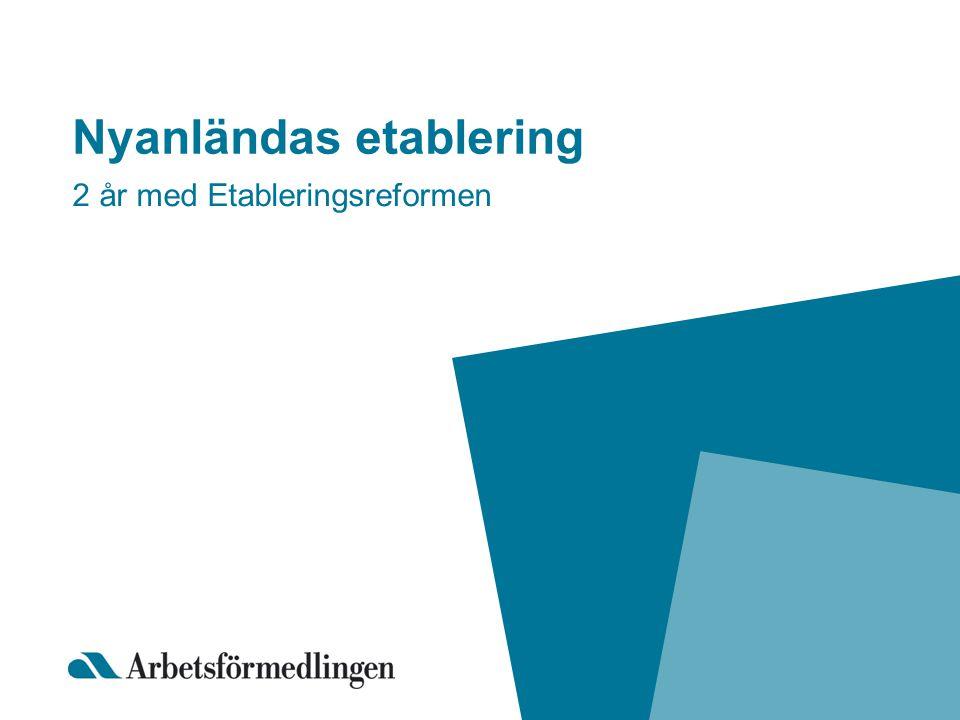 Nyanländas etablering 2 år med Etableringsreformen