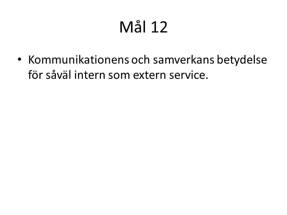 Mål 12 • Kommunikationens och samverkans betydelse för såväl intern som extern service.