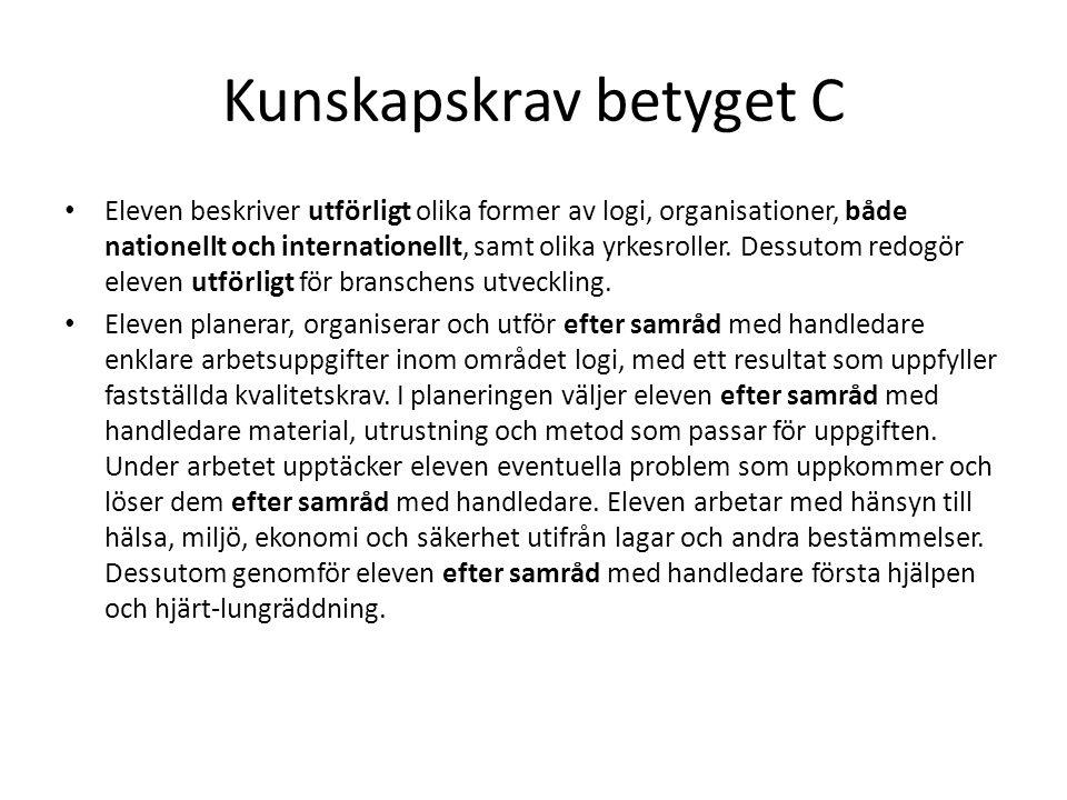 Kunskapskrav betyget C • Eleven beskriver utförligt olika former av logi, organisationer, både nationellt och internationellt, samt olika yrkesroller.