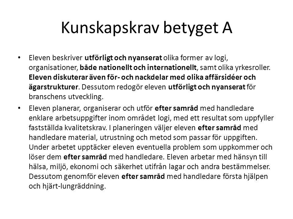 Kunskapskrav betyget A • Eleven beskriver utförligt och nyanserat olika former av logi, organisationer, både nationellt och internationellt, samt olik