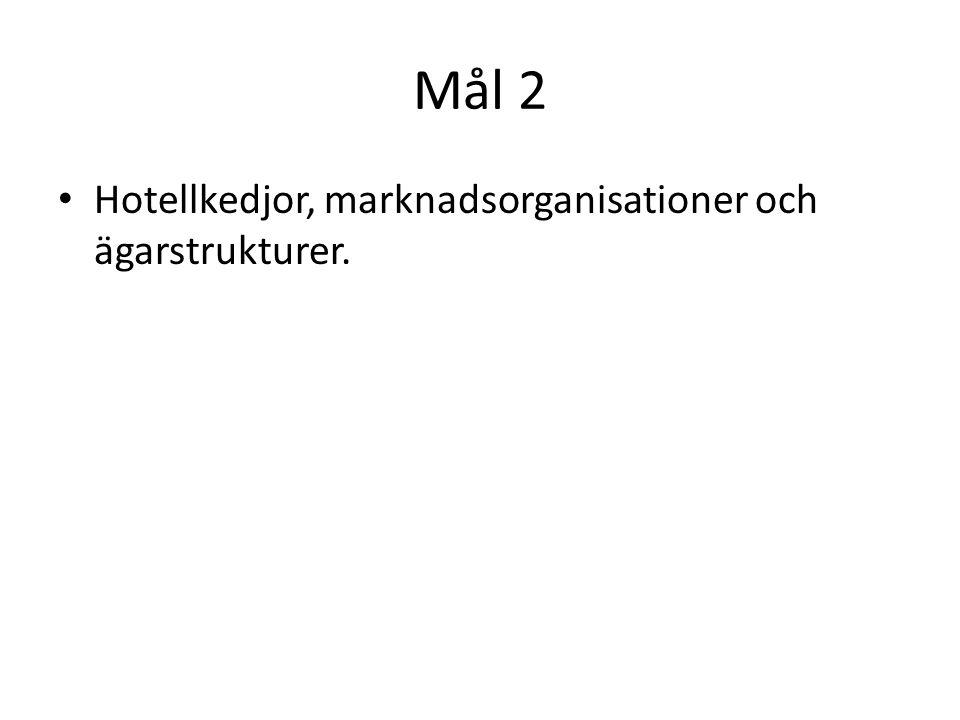 Mål 2 • Hotellkedjor, marknadsorganisationer och ägarstrukturer.