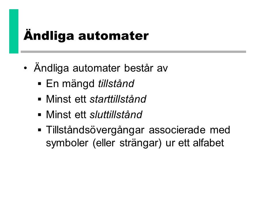 Ändliga automater •Ändliga automater består av  En mängd tillstånd  Minst ett starttillstånd  Minst ett sluttillstånd  Tillståndsövergångar associ