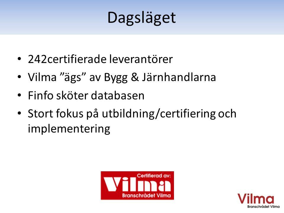• 242certifierade leverantörer • Vilma ägs av Bygg & Järnhandlarna • Finfo sköter databasen • Stort fokus på utbildning/certifiering och implementering Dagsläget