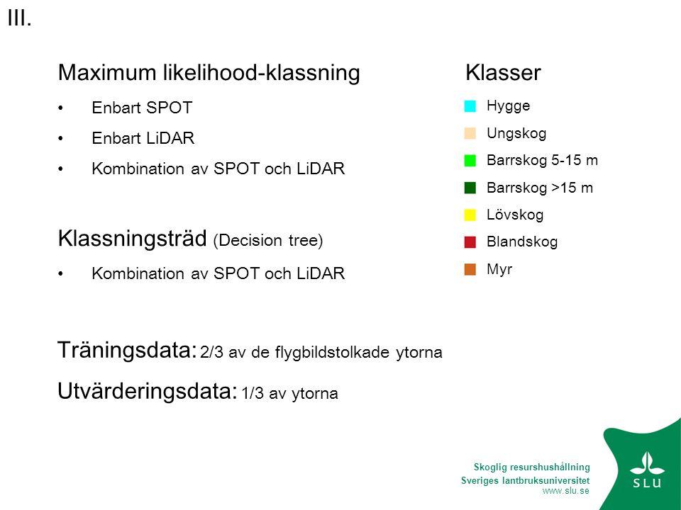 Sveriges lantbruksuniversitet www.slu.se Klasser Hygge Ungskog Barrskog 5-15 m Barrskog >15 m Lövskog Blandskog Myr Maximum likelihood-klassning • Enb