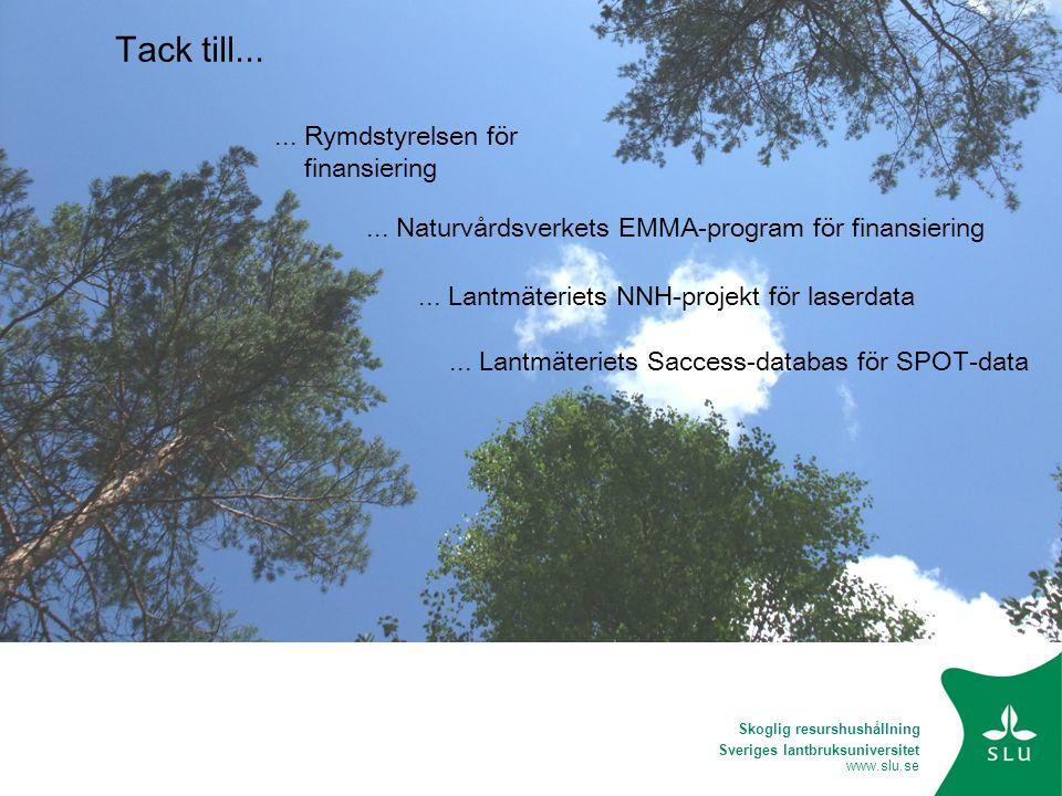 Sveriges lantbruksuniversitet www.slu.se Tack till...... Rymdstyrelsen för finansiering... Lantmäteriets NNH-projekt för laserdata... Naturvårdsverket