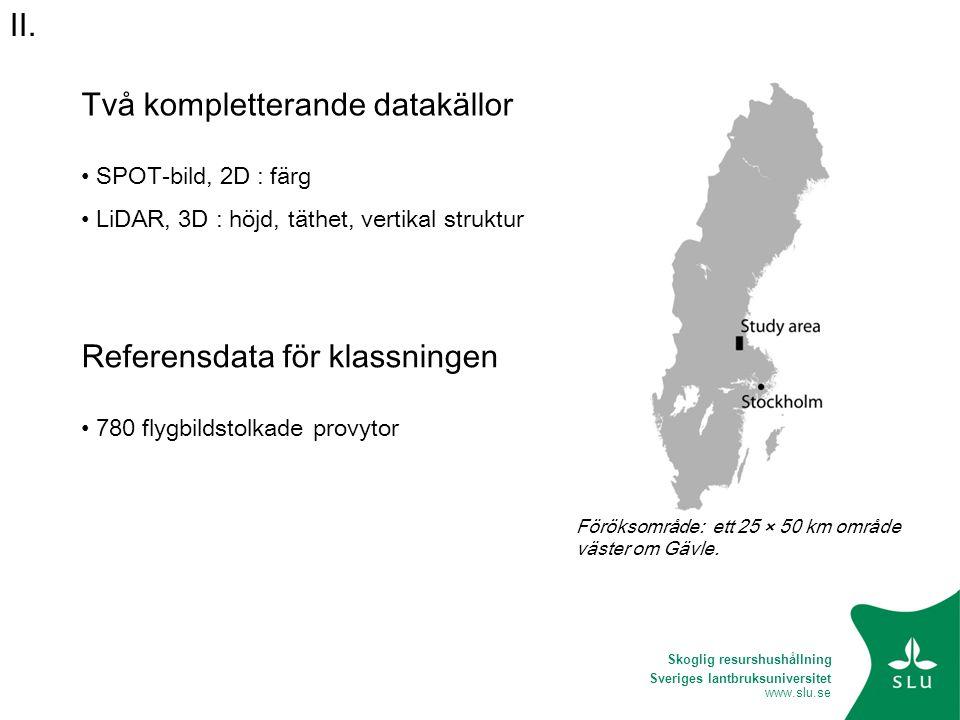 Sveriges lantbruksuniversitet www.slu.se Två kompletterande datakällor • SPOT-bild, 2D : färg • LiDAR, 3D : höjd, täthet, vertikal struktur Referensda