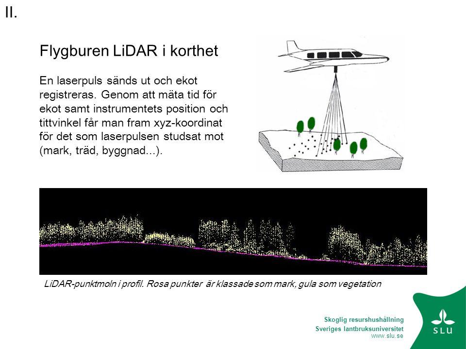 Sveriges lantbruksuniversitet www.slu.se Flygburen LiDAR i korthet En laserpuls sänds ut och ekot registreras. Genom att mäta tid för ekot samt instru