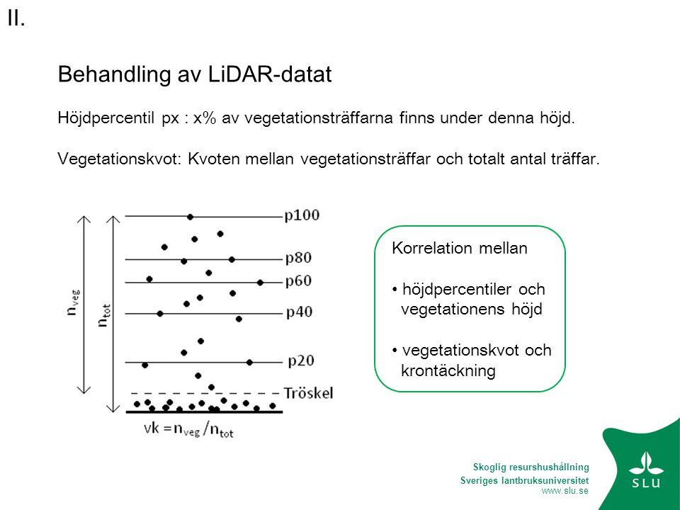 Sveriges lantbruksuniversitet www.slu.se Behandling av LiDAR-datat Höjdpercentil px : x% av vegetationsträffarna finns under denna höjd. Vegetationskv