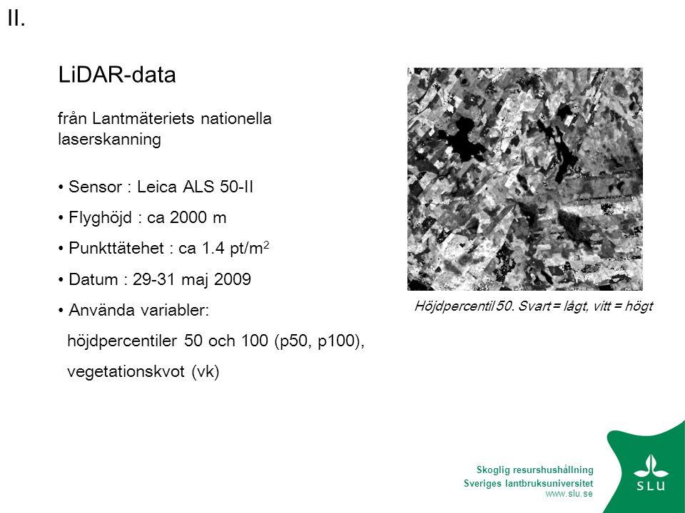 Sveriges lantbruksuniversitet www.slu.se LiDAR-data från Lantmäteriets nationella laserskanning • Sensor : Leica ALS 50-II • Flyghöjd : ca 2000 m • Pu
