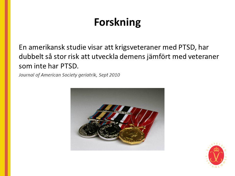 Forskning En amerikansk studie visar att krigsveteraner med PTSD, har dubbelt så stor risk att utveckla demens jämfört med veteraner som inte har PTSD