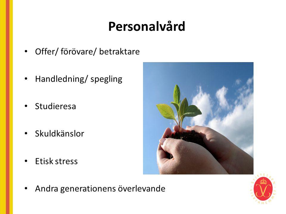 Personalvård • Offer/ förövare/ betraktare • Handledning/ spegling • Studieresa • Skuldkänslor • Etisk stress • Andra generationens överlevande
