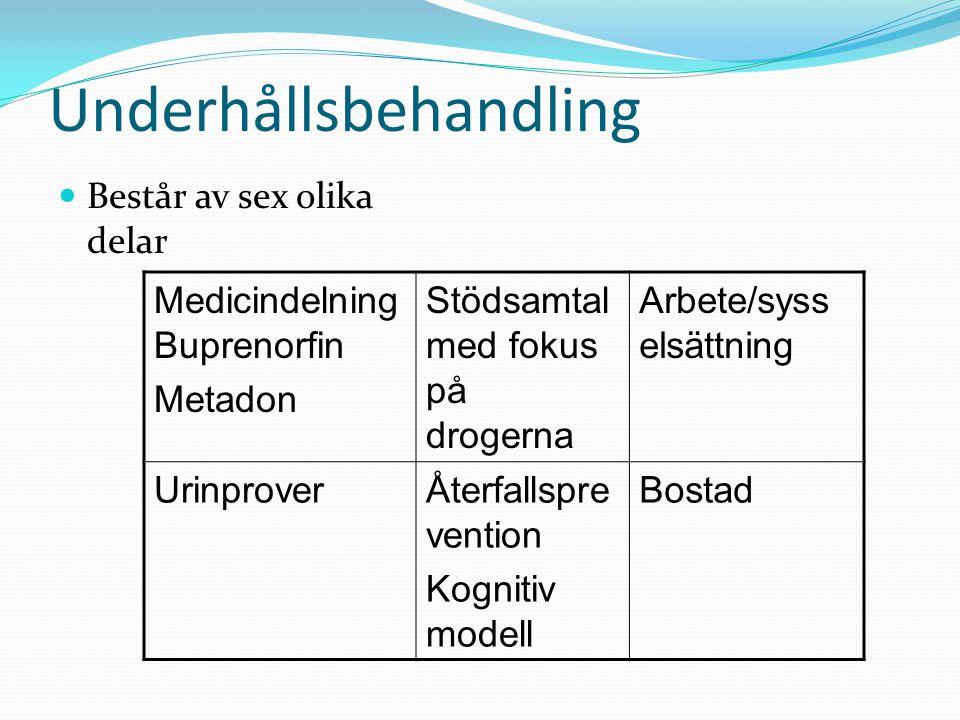 Underhållsbehandling  Består av sex olika delar Medicindelning Buprenorfin Metadon Stödsamtal med fokus på drogerna Arbete/syss elsättning UrinproverÅterfallspre vention Kognitiv modell Bostad