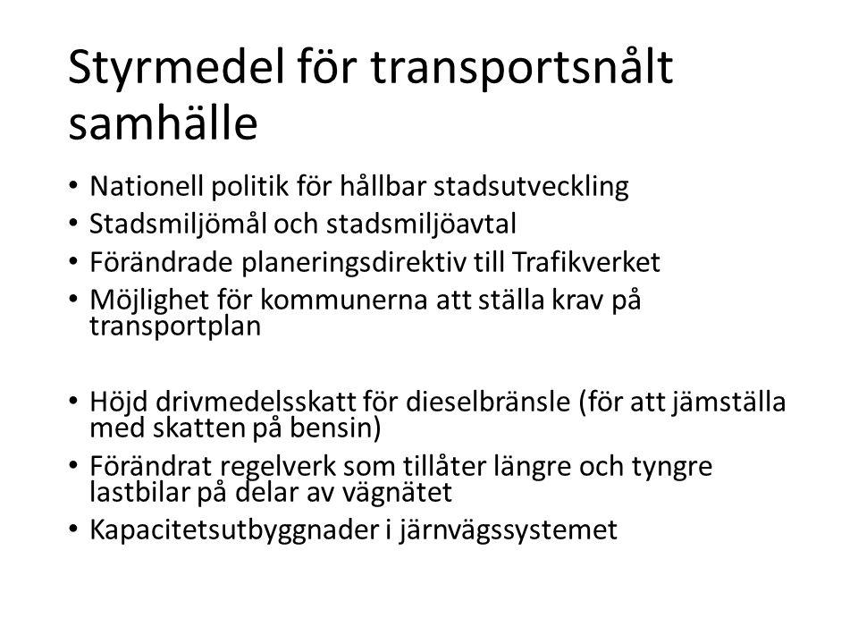 Styrmedel för transportsnålt samhälle • Nationell politik för hållbar stadsutveckling • Stadsmiljömål och stadsmiljöavtal • Förändrade planeringsdirek