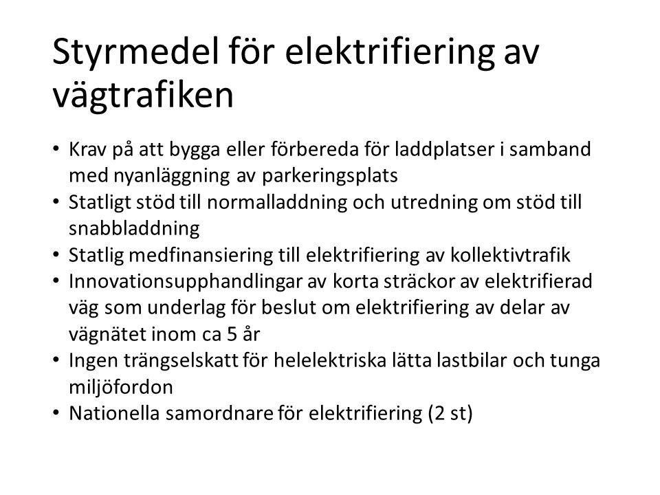 Styrmedel för elektrifiering av vägtrafiken • Krav på att bygga eller förbereda för laddplatser i samband med nyanläggning av parkeringsplats • Statli