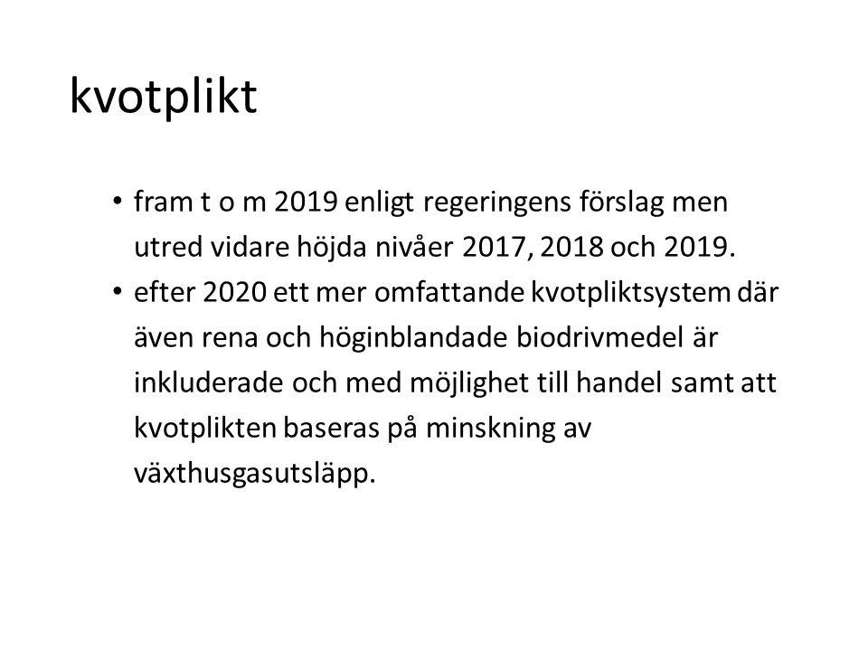 kvotplikt • fram t o m 2019 enligt regeringens förslag men utred vidare höjda nivåer 2017, 2018 och 2019. • efter 2020 ett mer omfattande kvotpliktsys
