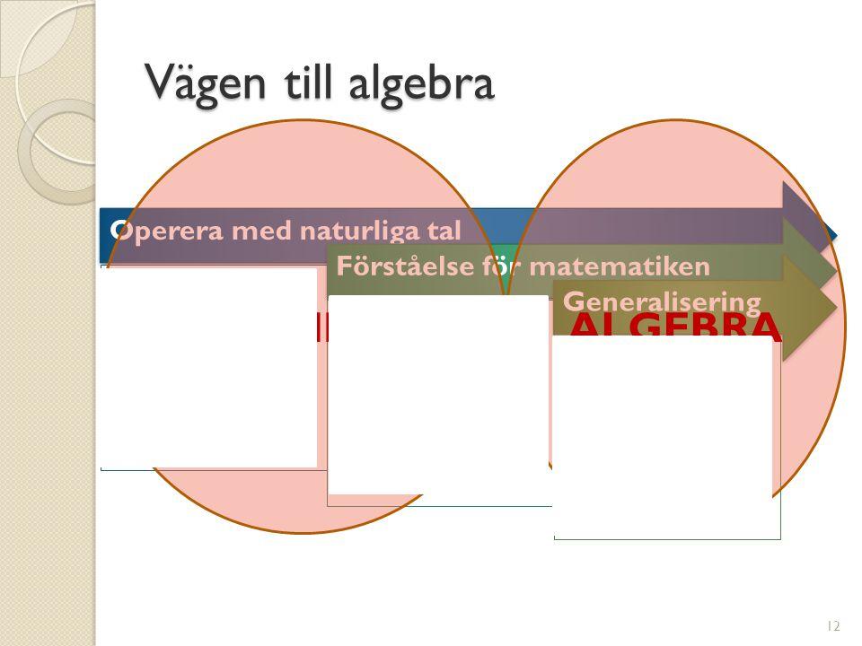 Vägen till algebra Operera med naturliga tal Räkna föremål Jämföra antal De fyra räknesätten Förståelse för matematiken Förståele för symboler Förståelse för talens och räknesättens egenskaper Samband Generalisering Generalisering av kunskap och förståelse 12 ARITMETIKALGEBRA