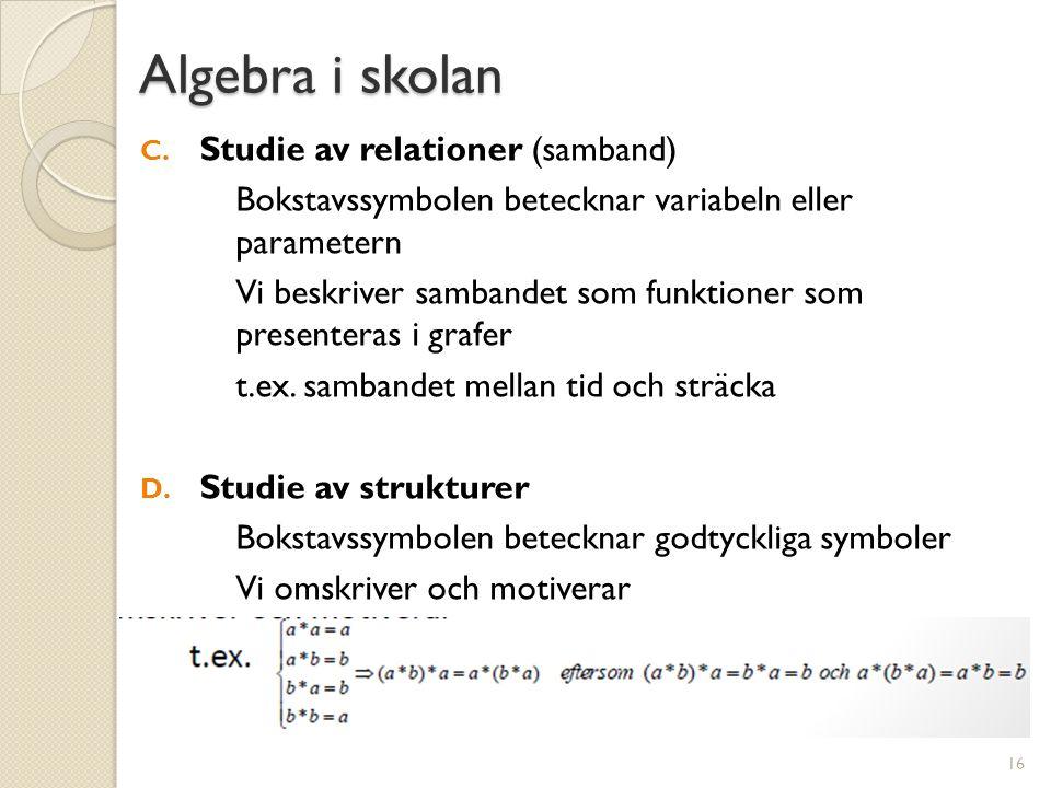 Algebra i skolan C. Studie av relationer (samband) Bokstavssymbolen betecknar variabeln eller parametern Vi beskriver sambandet som funktioner som pre