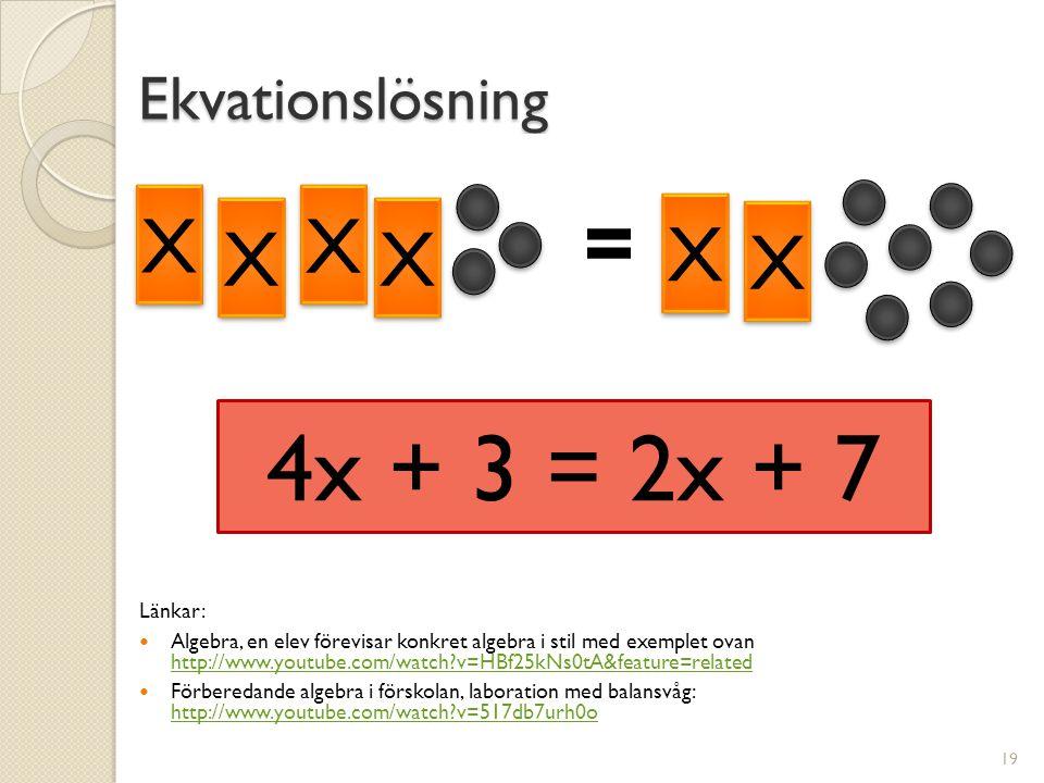 Ekvationslösning Länkar:  Algebra, en elev förevisar konkret algebra i stil med exemplet ovan http://www.youtube.com/watch?v=HBf25kNs0tA&feature=related http://www.youtube.com/watch?v=HBf25kNs0tA&feature=related  Förberedande algebra i förskolan, laboration med balansvåg: http://www.youtube.com/watch?v=517db7urh0o http://www.youtube.com/watch?v=517db7urh0o 19 4x + 3 = 2x + 7 X X X X X X X X X X X X = X X X X X X X X X X X X =